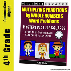 4th Grade Multiplying Fractions Word Problems Mystery Pictures Coloring Worksheets / Task Cards