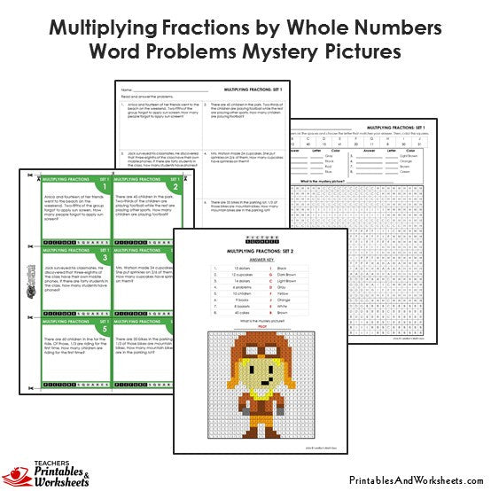 Grade 4 Multiplying Fractions by Whole Numbers Word Problems Mystery Pictures