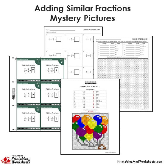 Grade 4 Adding Similar Fractions Coloring Worksheets/Task Cards - Balloon