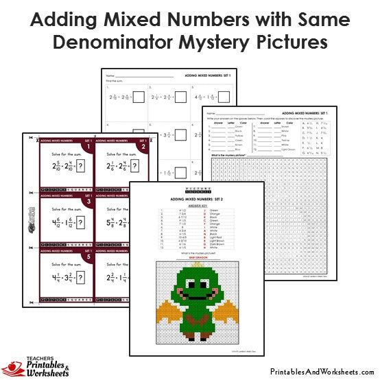 4th Grade Adding Mixed Numbers With Same Denominator