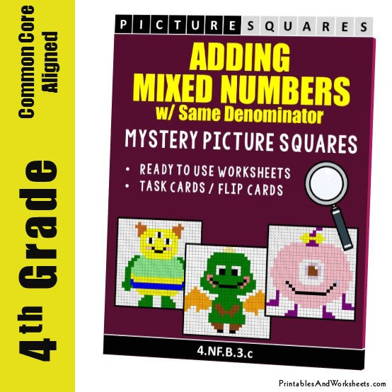 Grade 4 Adding Mixed Numbers with Same Denominator Mystery Pictures Coloring Worksheets/Task Cards