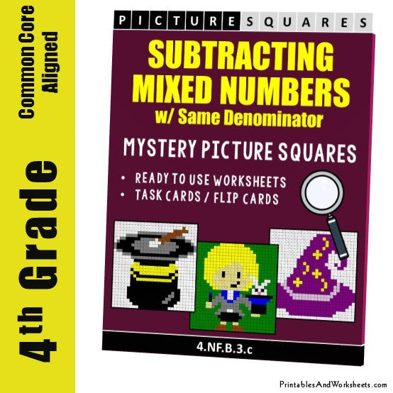 Grade 4 Subtracting Similar Mixed Numbers Coloring Worksheets / Task Cards