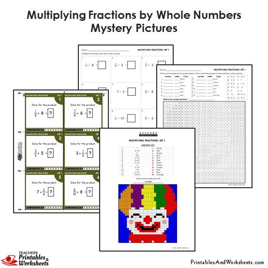 Grade 4 Multiplying Fractions by Whole Numbers Coloring Worksheets / Task Cards - Clown