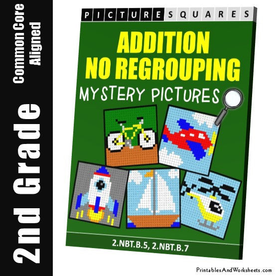 Grade 2 Addition No Regrouping Mystery Pictures Coloring Worksheets