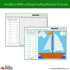 2nd Grade Addition Without Regrouping Mystery Pictures Coloring Worksheets