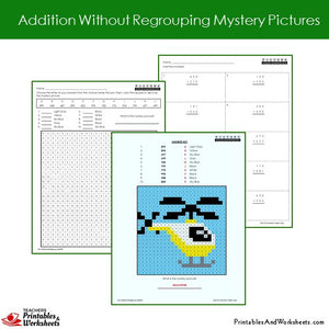 Grade 2 Addition No Regrouping Mystery Pictures Coloring Worksheets Sample 2