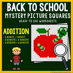 Back To School - Addition Coloring Worksheets