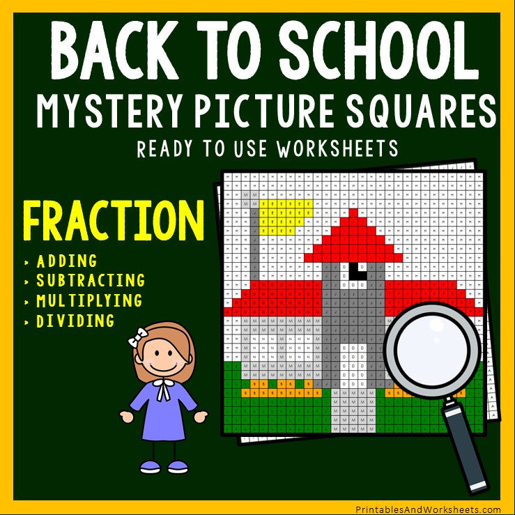 Back to School Fraction Coloring Worksheets
