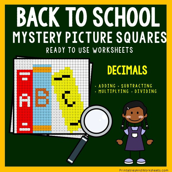 Back to School Decimals Coloring Worksheets