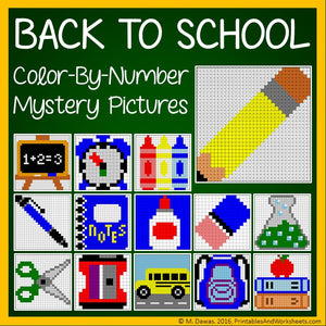 Back To School Color-By-Number Mystery Pictures Coloring Pages