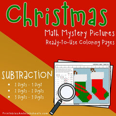 Christmas Subtraction Coloring Worksheets