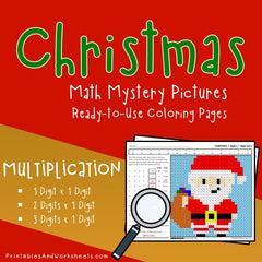 Christmas Multiplication Coloring Worksheets