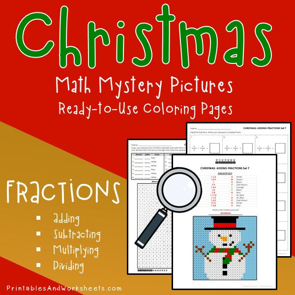 Christmas Fractions Coloring Worksheets