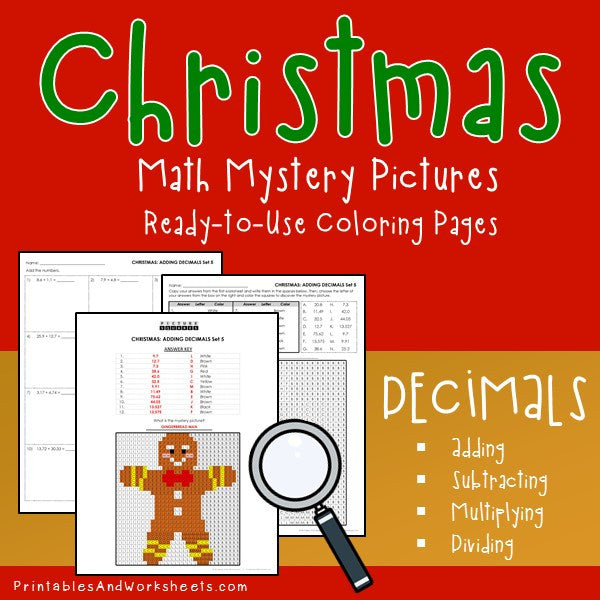 Christmas Decimals Coloring Worksheets