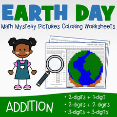 Earth Day Addition Coloring Worksheets