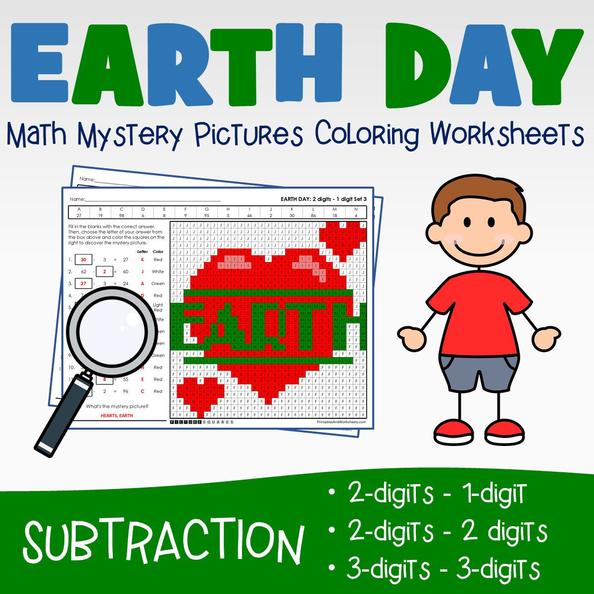 Earth Day Subtraction Coloring Worksheets
