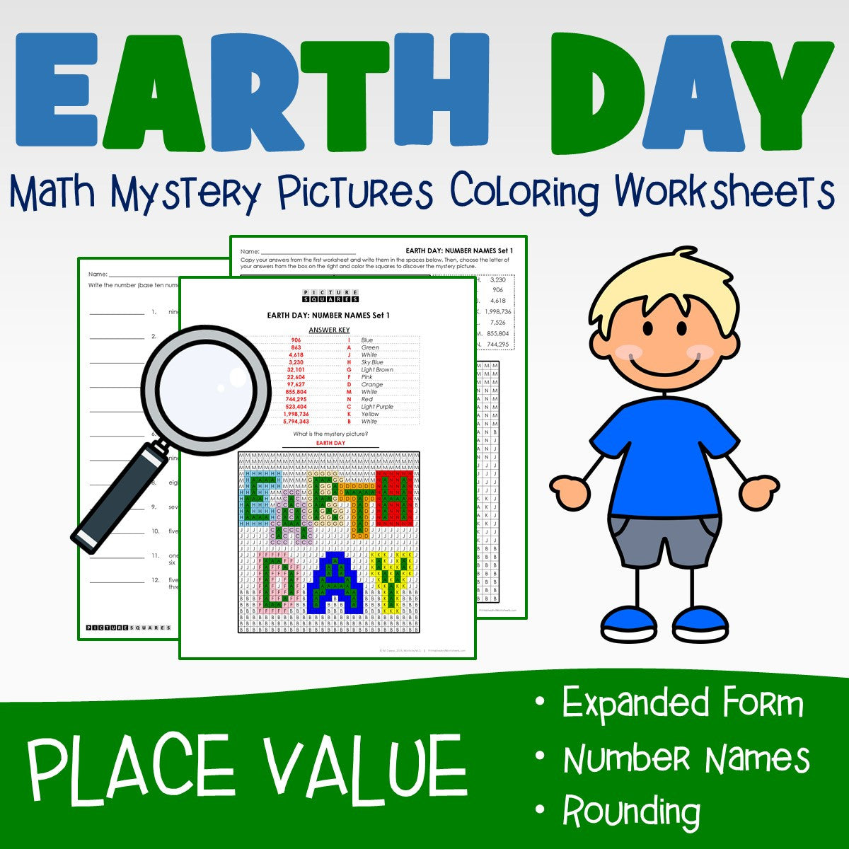 Earth Day Place Value Coloring Worksheets
