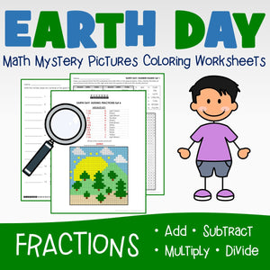 Earth Day Fractions Coloring Worksheets