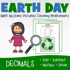 Earth Day Decimals Coloring Worksheets