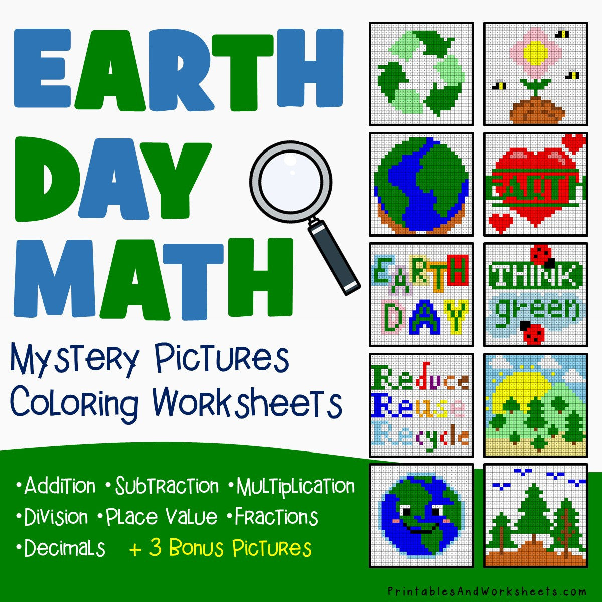 Earth Day Math Coloring Worksheets