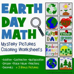Earth Day Math Coloring Worksheets Bundle