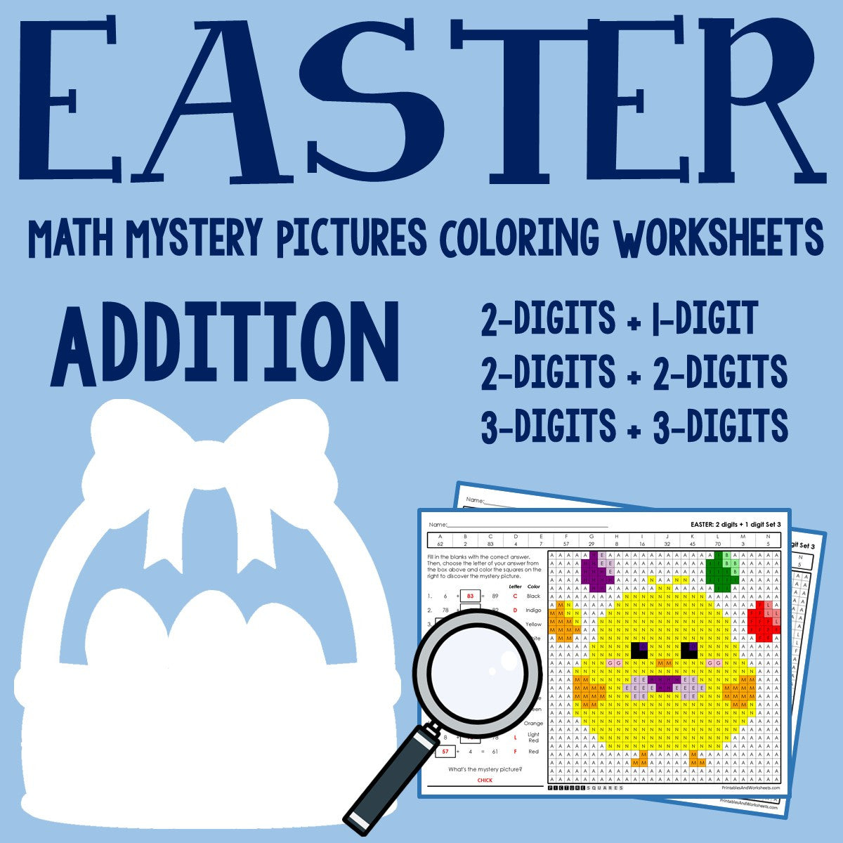 Easter Addition Coloring Worksheets