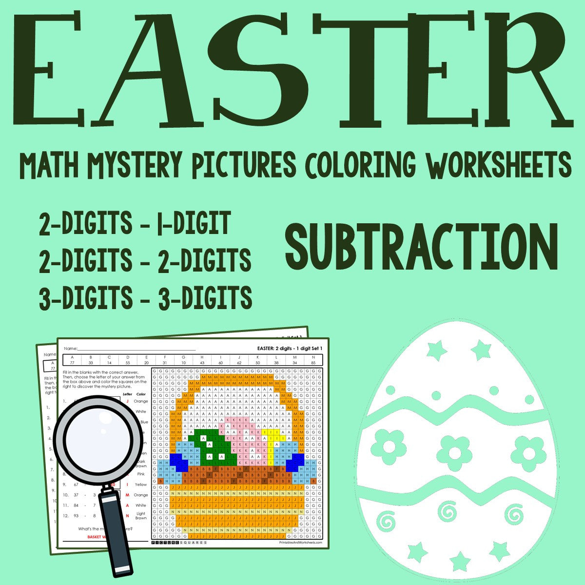 Easter Subtraction Coloring Worksheets