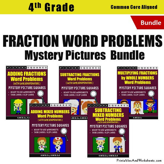Grade 4 Fraction Word Problems Mystery Pictures Coloring Worksheets / Task Cards Bundle