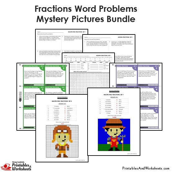 Grade 4 Fraction Word Problems Mystery Pictures Coloring Worksheets / Task Cards - Sample 1
