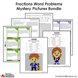 Grade 4 Fraction Word Problems Mystery Pictures Coloring Worksheets / Task Cards - Sample 2