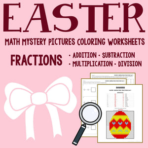 Easter Fraction Coloring Worksheets