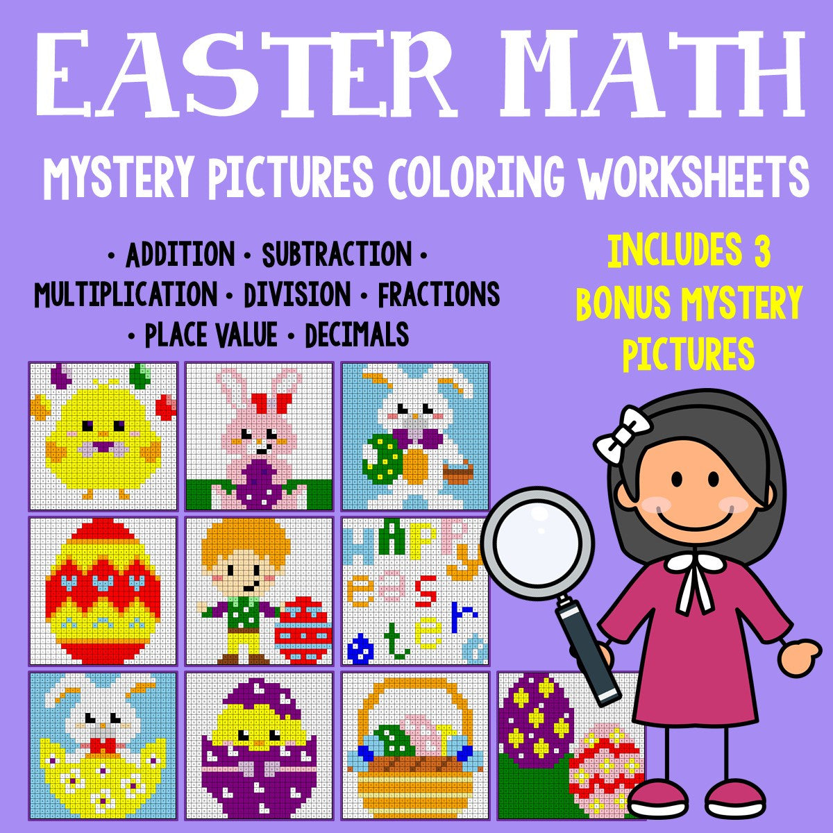 Easter Math Mystery Pictures Coloring Worksheets