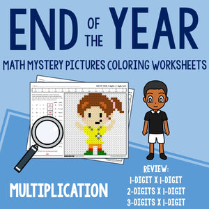 End of the Year Multiplication Coloring Worksheets