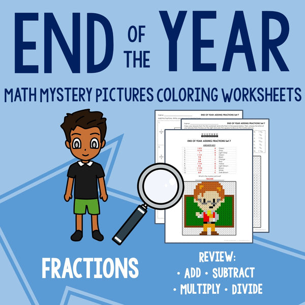 End of the Year Fractions Coloring Worksheets
