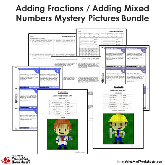 Grade 4 Adding Similar Fractions/Mixed Numbers Mystery Pictures Coloring Worksheets/Task Cards - Sample 1