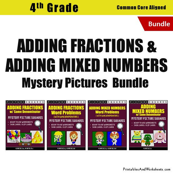 Grade 4 Adding Similar Fractions/Mixed Numbers Mystery Pictures Coloring Worksheets/Task Cards