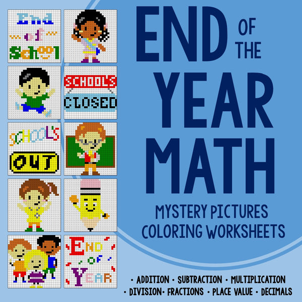 End of the Year Math Coloring Worksheets