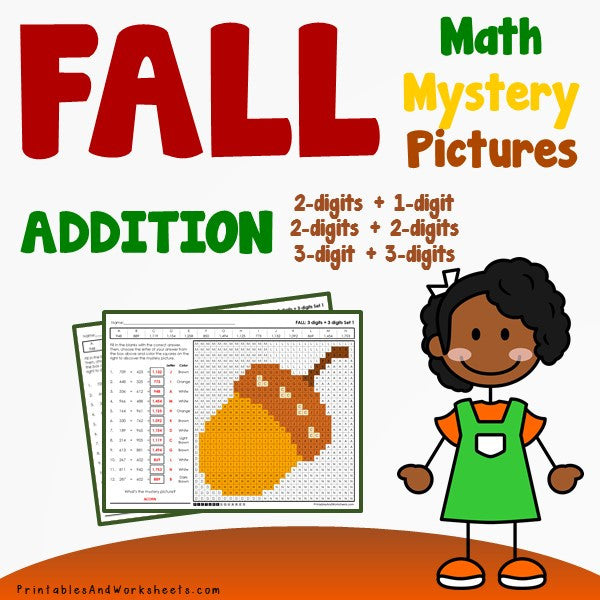 Fall/Autumn Addition Coloring Worksheets