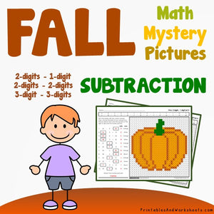 Fall/Autumn Subtraction Coloring Worksheets
