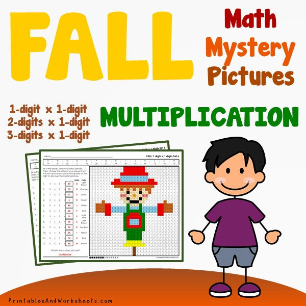Fall/Autumn Multiplication Coloring Worksheets