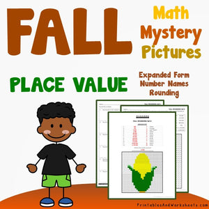 Fall/Autumn Place Value Coloring Worksheets