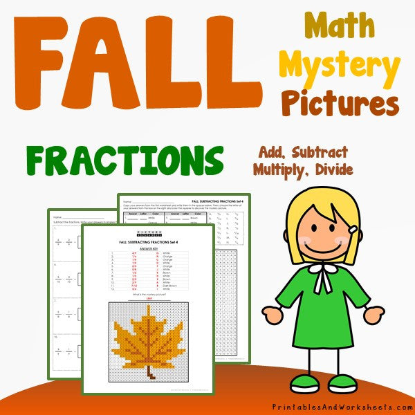 Fall/Autumn Fractions Coloring Worksheets
