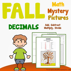 Fall/Autumn Decimals Coloring Worksheets