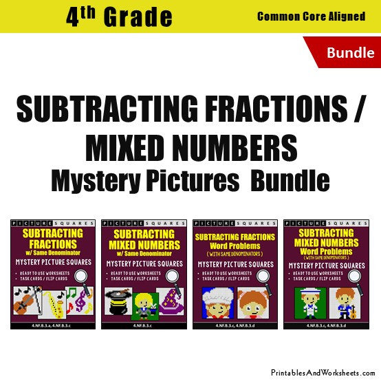 Grade 4 Subtracting Similar Fractions Mixed Numbers Mystery Pictures Coloring Worksheets / Task Cards