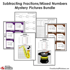 4th Grade Subtracting Similar Fractions Mystery Pictures Coloring Worksheets / Task Cards Bundle