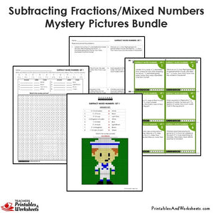 Grade 4 Subtracting Similar Fractions Mixed Numbers Coloring Worksheets - Sample 2