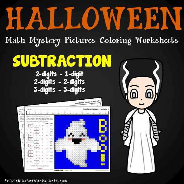 Halloween Subtraction Coloring Worksheets