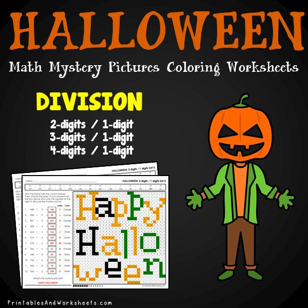 Halloween Division Coloring Worksheets