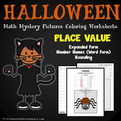 Halloween Place Value Mystery Pictures Coloring Worksheets