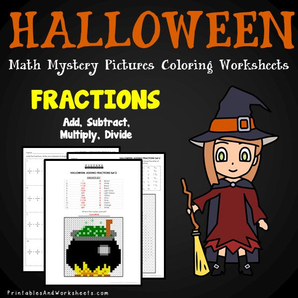 Halloween Fractions Coloring Worksheets